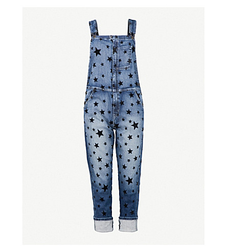 CURRENT/ELLIOTT The Rollin stretch-denim dungarees (Flocked+star