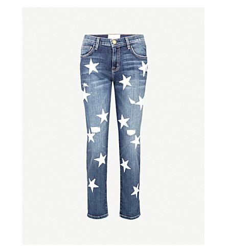 CURRENT/ELLIOTT The Fling Loved slim-fit skinny mid-rise jeans (White+stars
