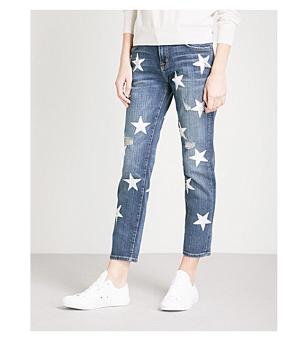 CURRENT/ELLIOTT The Fling Loved slim-fit skinny mid-rise jeans (White+stars