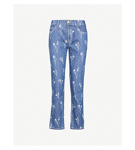 CURRENT/ELLIOTT The Fling floral-print straight mid-rise jeans (Tossed+tulip