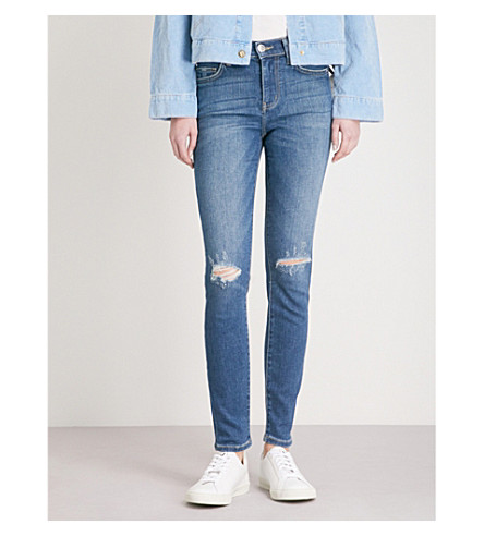 CURRENT/ELLIOTT The High Waist Ankle Skinny high-rise jeans (Joey+dark+destroy
