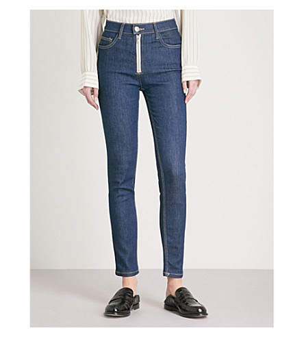 CURRENT/ELLIOTT The High Waist Skinny Zip high-rise jeans (Rinse