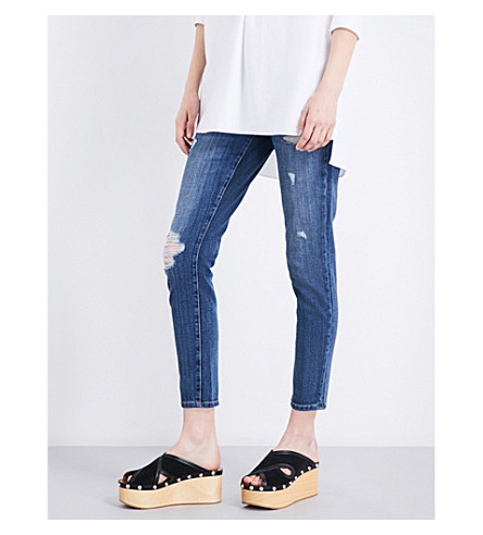 CURRENT/ELLIOTT The Easy Stiletto distressed skinny mid-rise jeans (In+love+destroy