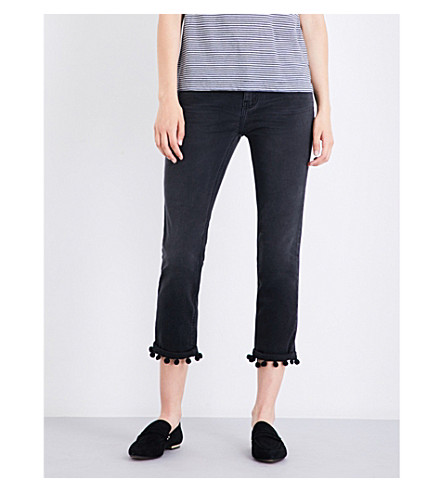 CURRENT/ELLIOTT The Cropped pompom-trim straight high-rise jeans (2+weeks+worn+black
