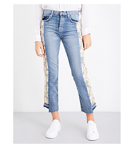 CURRENT/ELLIOTT The Uneven Seamed Original straight high-rise jeans (Frstlove+mxed+floral