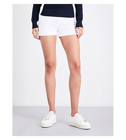 CURRENT/ELLIOTT The Boyfriend Rolled low-rise denim shorts (Sugar