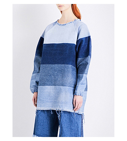 KSENIA SCHNAIDER Raw-hem patchwork denim top (Mixed+blue