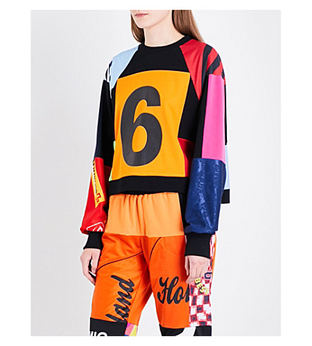 KSENIA SCHNAIDER Vintage-print cropped stretch-jersey sweatshirt (Pink+/+orange