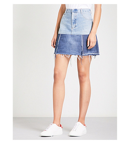 KSENIA SCHNAIDER Reworked denim mini skirt (Mixed+blue