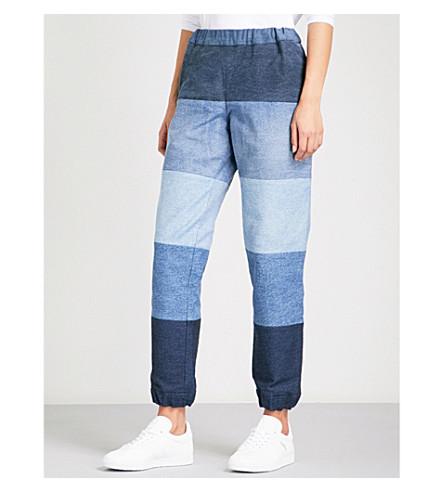 KSENIA SCHNAIDER Reworked denim jogging bottoms (Mixed+blue
