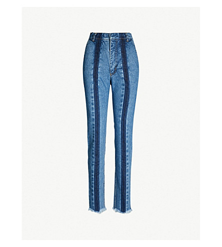 KSENIA SCHNAIDER Front-stripe faded high-rise slim-fit jeans (Medium blue