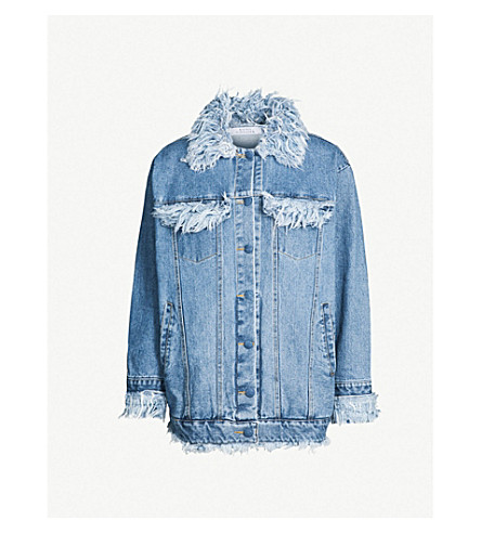 KSENIA SCHNAIDER Frayed-trim denim jacket (Medium blue