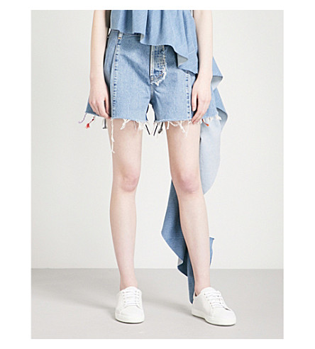 KSENIA SCHNAIDER Vintage rickrack-trim denim shorts (Light+blue