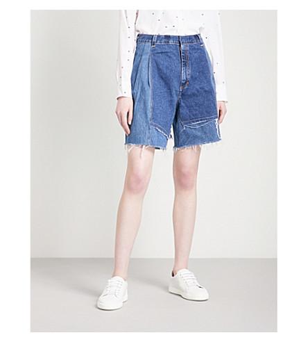 KSENIA SCHNAIDER Vintage wide high-rise denim shorts (Blue/dark+blue