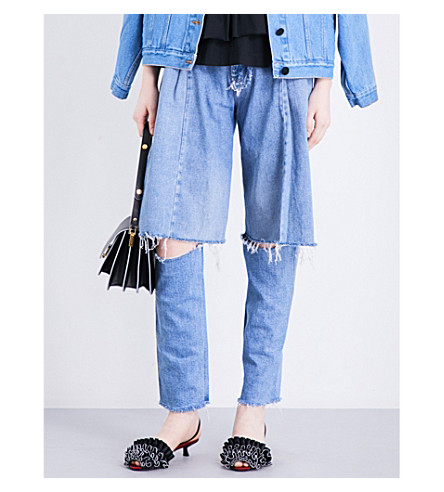 KSENIA SCHNAIDER Demi-Denims wide high-rise jeans (Blue