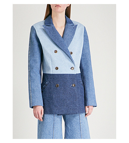 KSENIA SCHNAIDER Double-breasted patchwork denim jacket (Mixed+blue