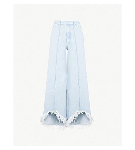 KSENIA SCHNAIDER Frayed Cutouts wide-leg high-rise jeans (Light+blue