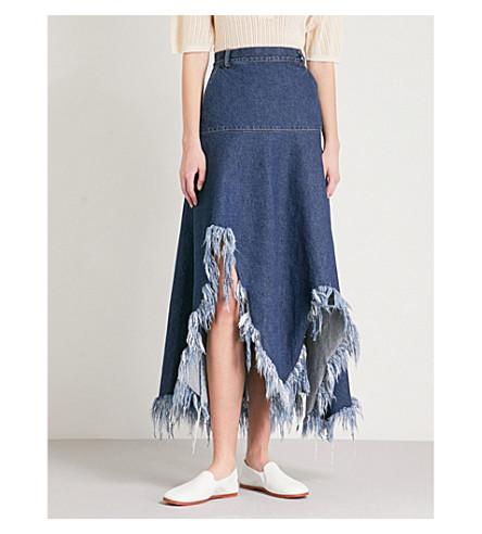 KSENIA SCHNAIDER Dramatic Cutouts high-rise denim skirt (Dark+blue