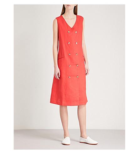 KSENIA SCHNAIDER Double-breasted sleeveless linen dress (Red