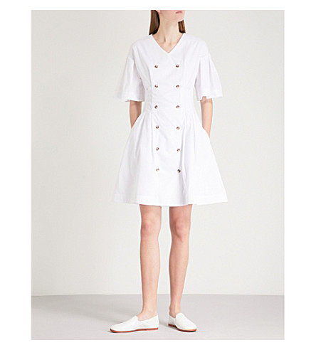 KSENIA SCHNAIDER Double-breasted fit-and-flare cotton dress (White
