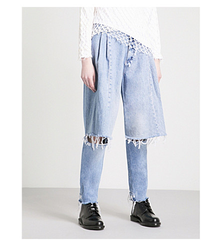 KSENIA SCHNAIDER Demi Denims Rework wide high-rise jeans (Light+blue