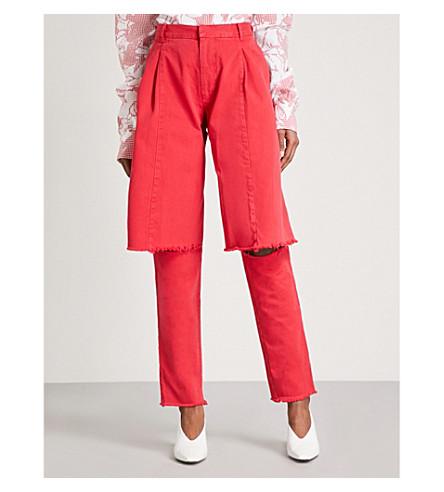 KSENIA SCHNAIDER Demi-Denim mom-fit layered jeans (Red