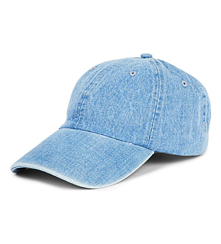 FIORUCCI Light-wash denim cap (Blue denim