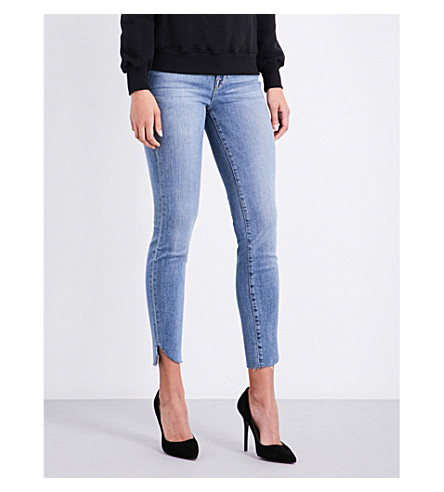 GOOD AMERICAN Good Legs cascade-hem skinny high-rise jeans (Blue090