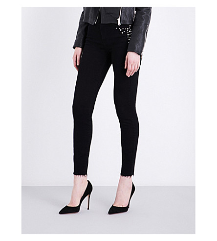 GOOD AMERICAN Good Legs faux-pearl-embellished skinny high-rise jeans (Black001