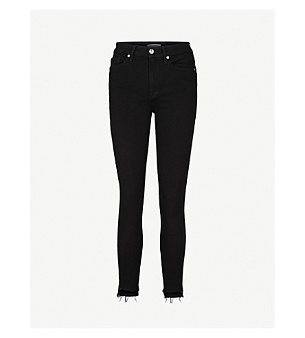 GOOD AMERICAN Good Legs Raw Stagger skinny high-rise jeans (Black001