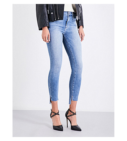GOOD AMERICAN Good Legs stepped-hem skinny high-rise jeans (Blue007