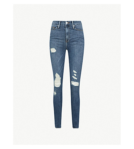 GOOD AMERICAN Good Waist frayed skinny ultra high-rise jeans (Blue026
