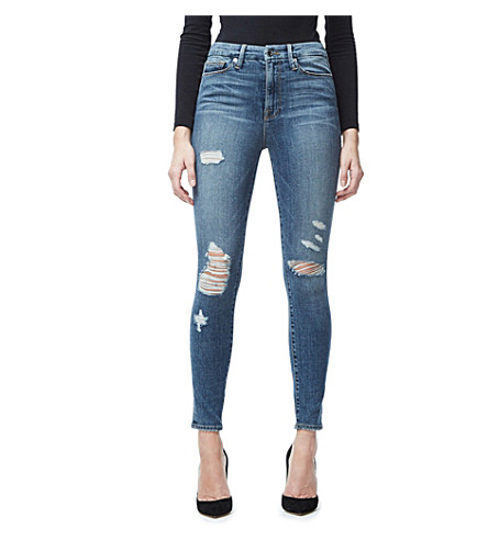 GOOD AMERICAN Good Waist frayed skinny ultra high-rise jeans (Blue026
