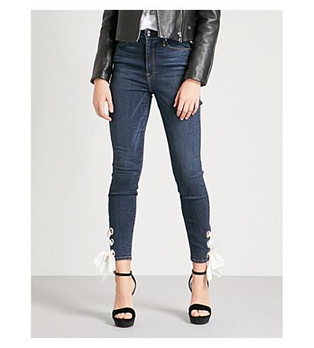 GOOD AMERICAN 良好的腰花边细节紧身高腰牛仔裤 (Blue102