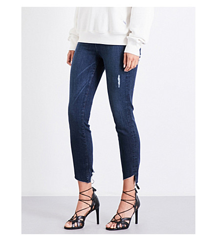 GOOD AMERICAN Good Waist Cascade Hem skinny high-rise jeans (Blue098
