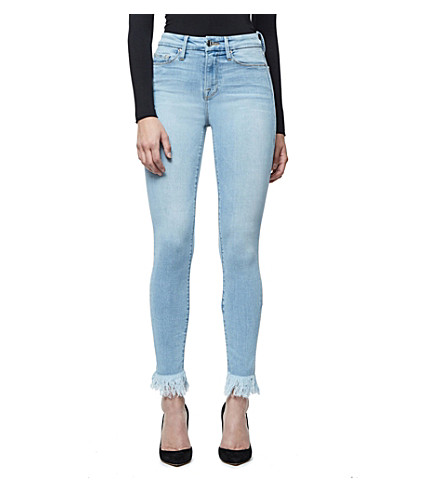 GOOD AMERICAN Good Waist ultra-skinny ultra high-rise frayed jeans (Blue+054