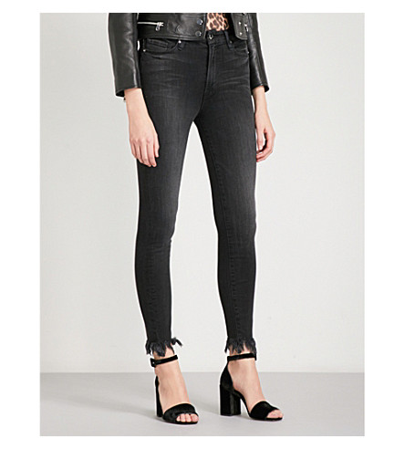 GOOD AMERICAN Good Waist Jagged Fray skinny ultra high-rise jeans (Black012