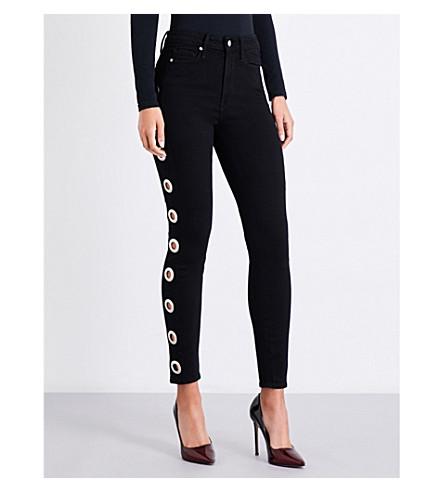 GOOD AMERICAN Good Waist Grommets skinny high-rise jeans (Black001