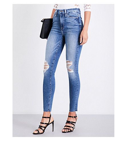 GOOD AMERICAN Good Waist Raw Edge distressed skinny high-rise jeans (Blue092