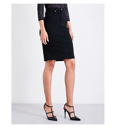 GOOD AMERICAN Slit-hem stretch-denim skirt (Black001