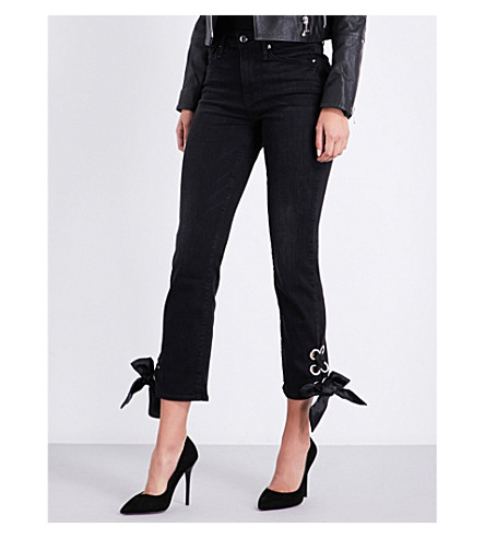 GOOD AMERICAN Good Legs lace-up straight mid-rise jeans (Black010