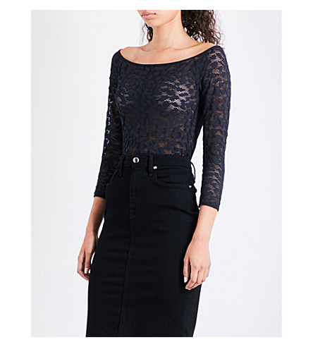 GOOD AMERICAN Off-the-shoulder lace-detail body (Black001