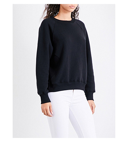 GOOD AMERICAN Boxy-fit cotton-jersey sweatshirt (Black