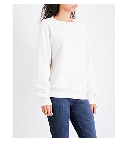 GOOD AMERICAN Boxy-fit cotton-jersey sweatshirt (White