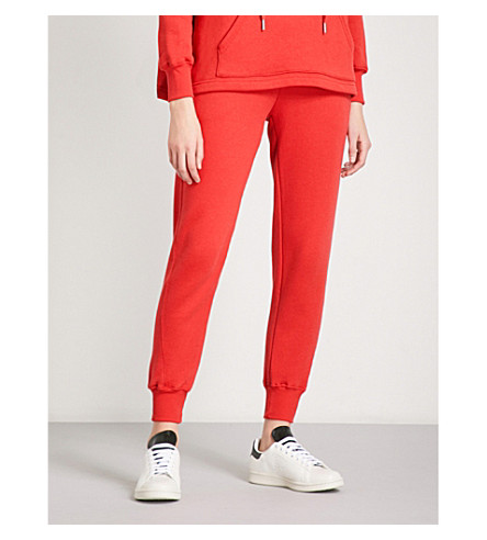 GOOD AMERICAN Slim-fit cotton-jersey jogging bottoms (Red