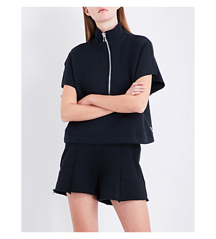GOOD AMERICAN The Chunky Zip cotton-jersey sweatshirt (Black