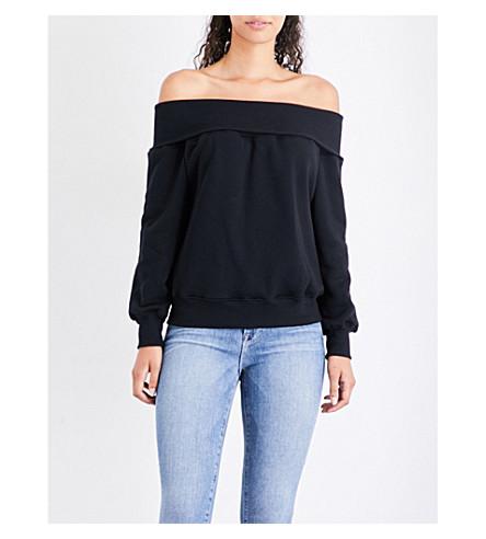 GOOD AMERICAN Off-the-shoulder cotton-jersey sweatshirt (Black