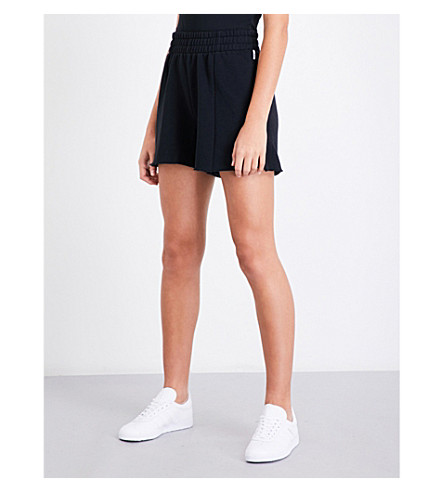 GOOD AMERICAN High-rise cotton-jersey shorts (Black