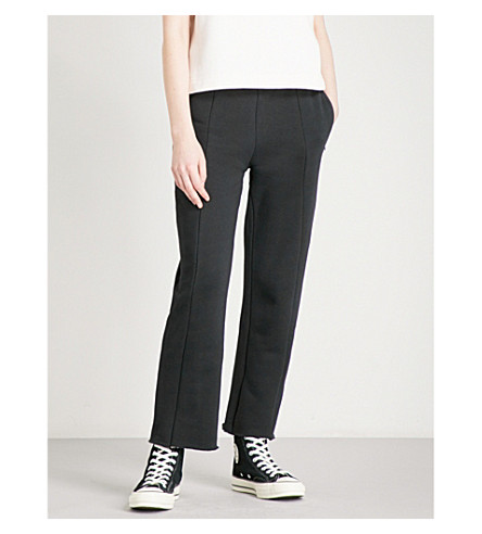 GOOD AMERICAN Wide-leg cotton-jersey jogging bottoms (Black