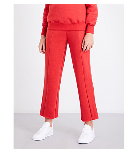 GOOD AMERICAN Wide-leg cotton-jersey jogging bottoms (Red